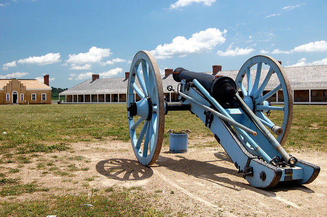 """Cannon at Fort Snelling, St. Paul. Image by <a href=https://flic.kr/p/6FofE8 target=""""_blank""""> jpellgen/flickr</a>"""