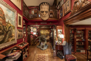 Artifacts and props from movies by Guillermo del Toro on display in an art exhibit